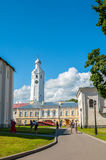 Clock tower of St Sophia cathedal and Orthodox parishioners near the cathedral in Veliky Novgorod, Russia. Stock Photos