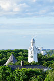 The clock tower of St.Sophia Cathedral  from bird's eye view, Veliky Novgorod Stock Images