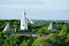 The clock tower of St.Sophia Cathedral  from bird's eye view, Veliky Novgorod Stock Photo