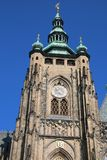 St. Vitus Chatedrale. Clock tower on St. Vitus Metroploital Chatedral in Prague, Czech Republic royalty free stock photography