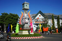 Clock tower on the street Stock Photos