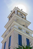 Clock tower. With sunlight on top Royalty Free Stock Photo