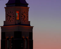 Clock Tower at Sunrise. At Oakland University with deep blues and purples in Rochester Hills Michigan in April 2015 stock photo