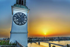 Clock tower at sunset Royalty Free Stock Photo