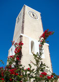 Clock tower surrounded by flowers and blue sky Stock Photography