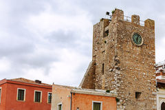 Clock Tower on 9th of April Square in Taormina Stock Images