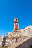The clock tower on the top of the Old Fortress of Corfu. Greece. Royalty Free Stock Photography