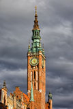 Clock Tower of Town Hall in Gdansk Royalty Free Stock Image