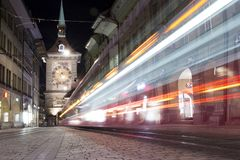Clock tower on a tram street of Berna stock photos