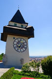 Clock Tower (Uhrturm) in Schlossberg, Graz, Austria Stock Photography