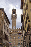 Clock tower of Vecchio palace at downtown of Florence Royalty Free Stock Image