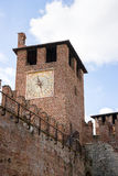 Clock tower in Verona old castle Royalty Free Stock Photography