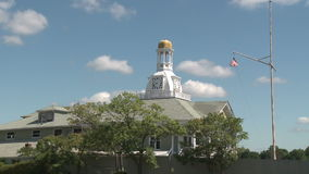Clock tower (2 of 2). A view or scene from around town stock footage