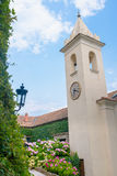 Clock tower. At The Villa del Balbianello, lake como, Italy stock images