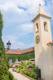 Clock tower. At The Villa del Balbianello, lake como, Italy royalty free stock photos