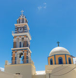Clock Tower in the village of Thira, Santorini, Greece Royalty Free Stock Images