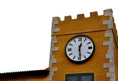 Clock tower vintage style. Mustard yellow background Stock Photos