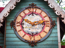 Clock in the tower. Watch in the wooden tower with Roman numerals - Canela city - Brazil Stock Photography