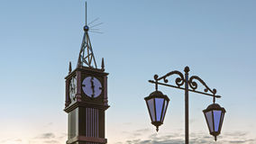 Clock tower on white night sky background Royalty Free Stock Photo