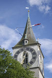 Clock tower zurich church in switzerland. In summer day blue sky Stock Photography