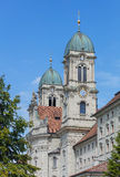 Clock towers of the Einsiedeln Abbey Stock Image