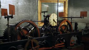 Clock town hall mechanism stock video