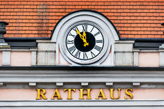 Clock at the town hall, Stock Images