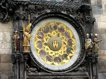 A clock on the town tower  in Prague Royalty Free Stock Images