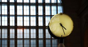 Clock train station royalty free stock photo