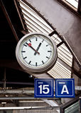 Clock at train station Stock Image