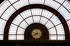 Clock in train station Stock Photos