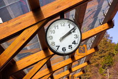 Clock. At the train station, Alishan Station, National forest park, Taiwan Stock Photos
