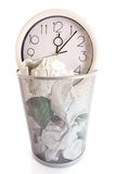 Clock in trash Royalty Free Stock Photography