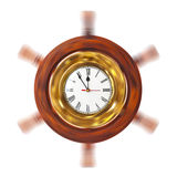 Clock in turning helm Royalty Free Stock Photography