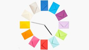 Clock of twelve colored letter envelopes  for Christmas mailing stock video