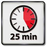 Clock with 25 minutes. Clock with twenty-five minutes and alarm vector illustration
