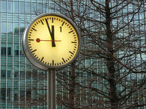 Clock two. Photograph of original clock at Canary Wharf in London Stock Photography
