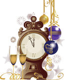 Clock and two glasses on white background. Vector illustration of christmas attributes Royalty Free Stock Photography