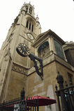 Clock on a typical church from London. UK Royalty Free Stock Image