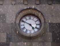 Clock under the rain stock photos