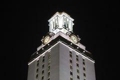 clock universitetar för det natttexas tornet Royaltyfri Fotografi