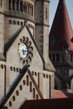 Clock up high towers Royalty Free Stock Photography