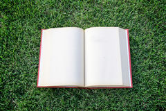 Clock up open blank book on the grass field Royalty Free Stock Photos
