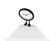 Clock up the stairs front Stock Photos