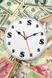 Clock us and canadian dollars Royalty Free Stock Photo