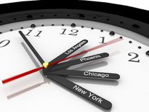 Clock USA. Time zone clock for USA, 3d render Royalty Free Stock Photo