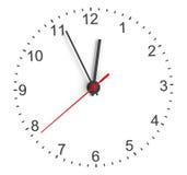 Clock vänder mot Vit bakgrund Royaltyfria Bilder