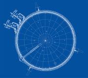 Clock vänder mot Vit bakgrund vektor Royaltyfri Fotografi