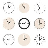 Clock vector icon set isolated on white background Stock Images