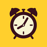 Clock. Vector icon on yellow background vector illustration